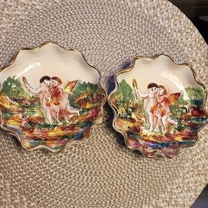SET OF 2 ANTIQUE ASHTRAY ITALY 683